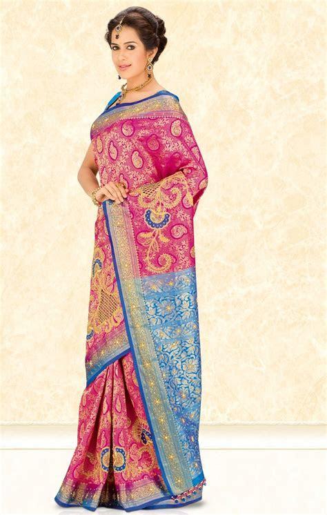 Vibrant pink and blue pattu saree