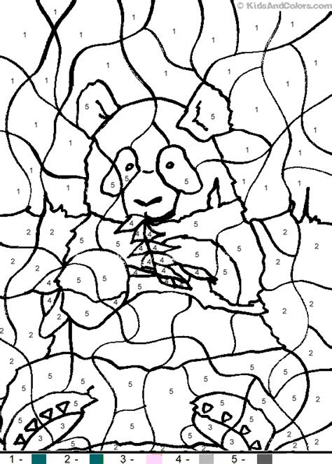 animalcolorbynumber color  number panda coloring pages