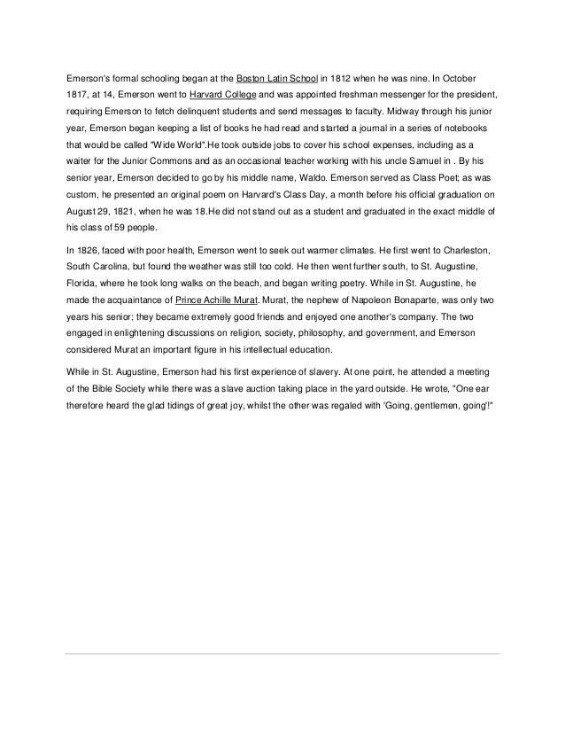 Essay education ralph waldo emerson analysis