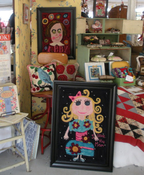 "Hello…It's another share my friend day…as we approach our ""Gathering of Friends"" show in Corona, CA.  Allow me to introduce you to Leslie McCabe, TEXTILE ARTIST EXTRAORDNAIRE! I am not pulling the wool over your eyes…she is so talented. She is a master rug hooker, Russian needle puncher, jeweller and soft sculpture artist. Leslie has a magical way of making colors sing…plus she is lots of fun at parties and is quite stylish also. She lives in Worcester, MA where she has a third story studio that was featured in ""Where Women Create"" a while back. It will be worth the trip to come and play with all of my special friends. Have ""let's go to California"" fun,  Jody, the lucky girl with such good friends"