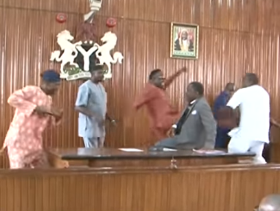 Video: Watch Edo state House of Assembly members exchange blows and kick themselves as they impeach their speaker