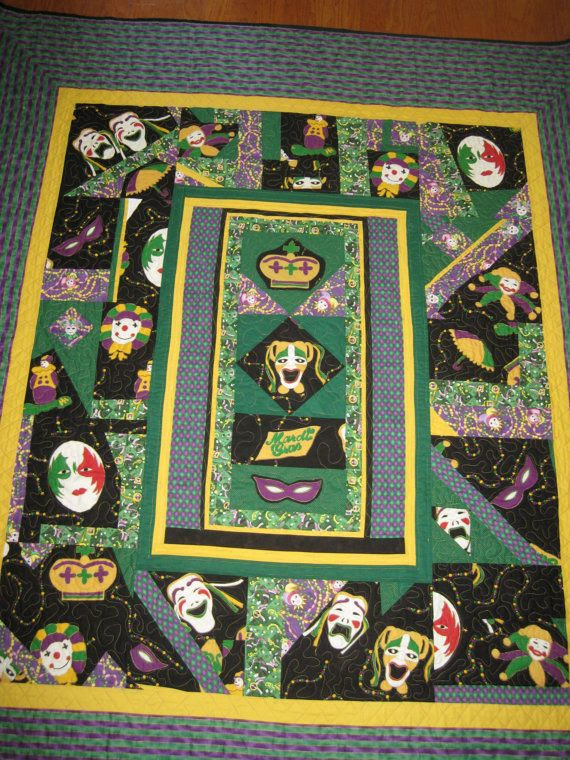 Handmade Queensized Mardi Gras Quilt by TheMidnightHoneybee