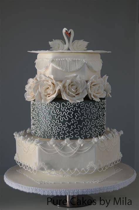 Swans Royal Icing Wedding Cake   CakeCentral.com