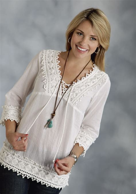 roper womens white cotton voile  sleeve western peasant top