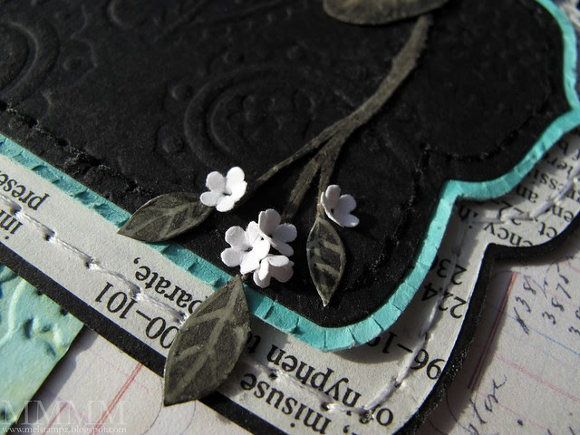 6 Add mini leaves and flowers - the flowers are so easy - left overs from edge punch