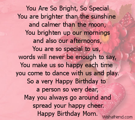 You Are So Bright So Special Mom Birthday Poem