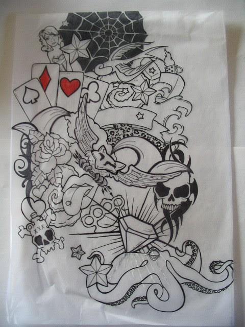 Black Ink Crow Half Sleeve Tattoos Designs