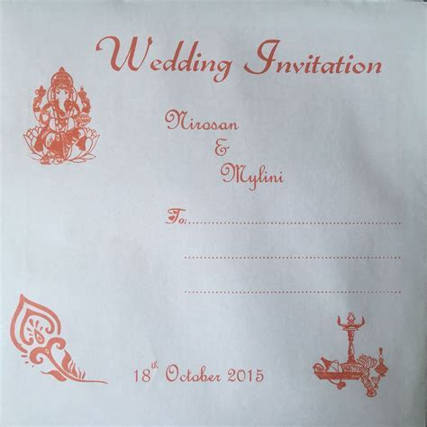 Indian wedding invitation card envelope orange   My Tamil