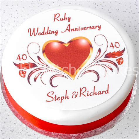ruby wedding anniversary cake topper personalised