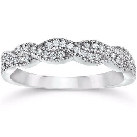 1/8CT Pave Diamond Infinity Vintage Wedding Ring Band 14K