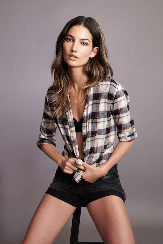 Le Fashion Blog Model Lily Aldridge for Velvet by Graham Spencer Collection Lookbook Rita Plaid Button-Up Shirt Jean Shorts Wavy Highlighted Hair Natural Beauty 1 photo Le-Fashion-Blog-Lily-Aldridge-for-Velvet-by-Graham-Spencer-Collection-Lookbook-Rita-Plaid-Shirt-1.jpg