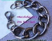 Chunky Chain Link Statement Bracelet- CHAIN REACTION Large Link Bracelet (Gunmetal)