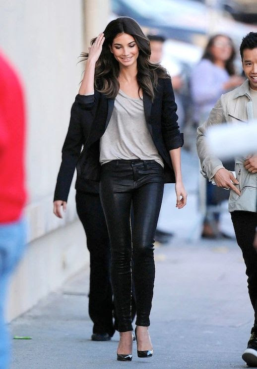 Le Fashion Blog Model Off Duty Style Lily Aldridge Black Blazer Grey Tee Leather Pants Patent Pumps Via Popsugar