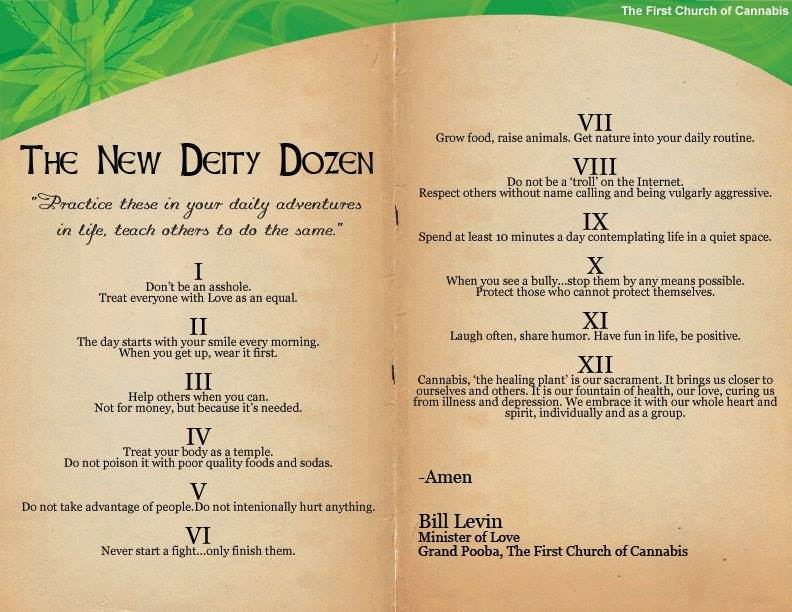 The First Church of Cannabis's Deity Dozen. (courtesy)