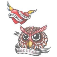 Tattoo Transfer New Old School Corazones Y Búho May Tattoo
