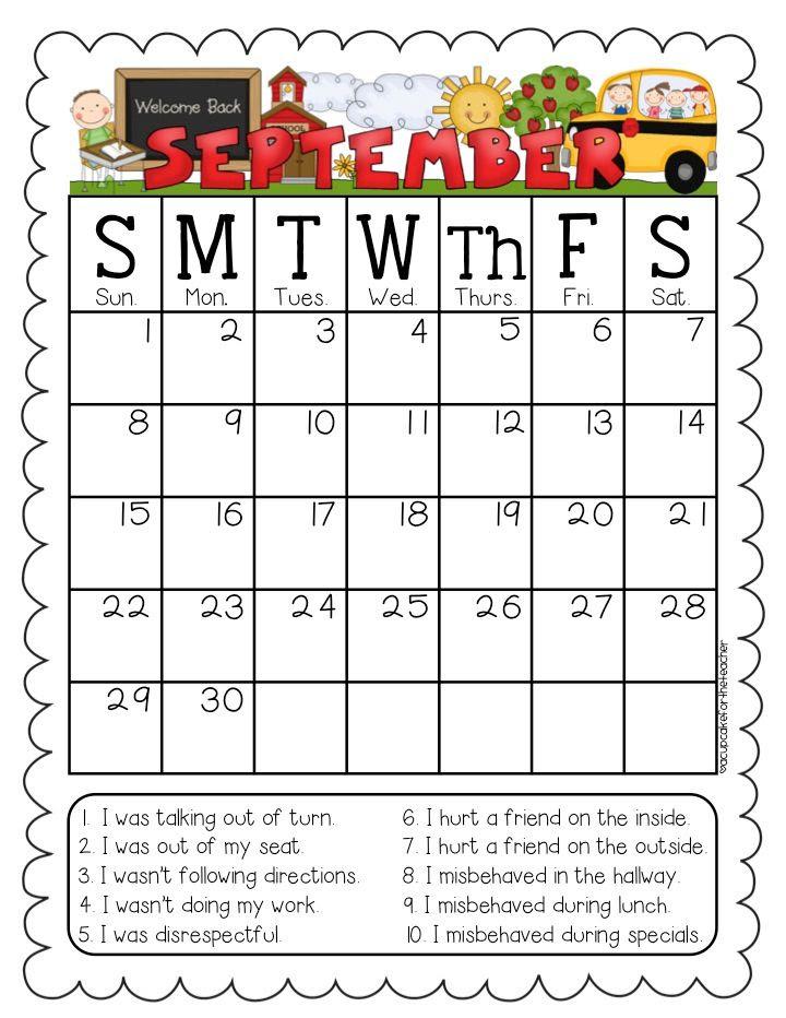 Behavior calendars editable option a cupcake for the for Monthly behavior calendar template
