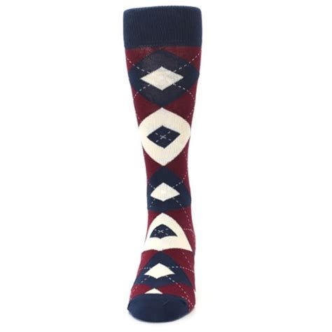 Burgundy Navy Argyle Men?s Dress Socks   Statement Sockwear
