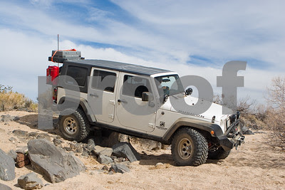 Jeep crossing wash in Mojave Desert