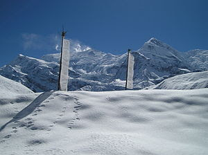 A Tibetian pray flags at the Himalaya Mountain...