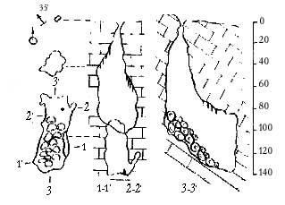 План и разрез вскрытой пещеры Кара-Мурза