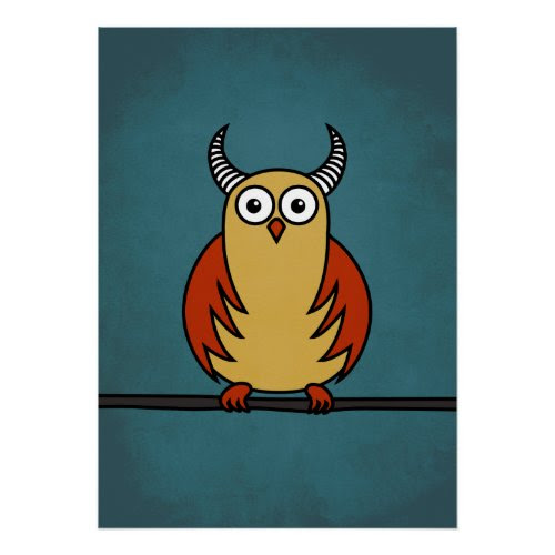 Funny Cartoon Horned Owl Poster