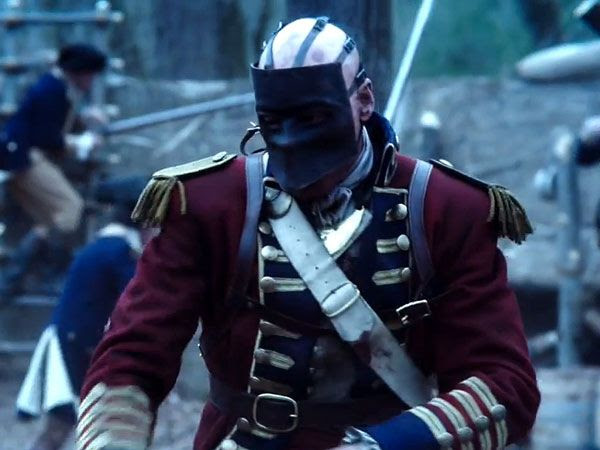 The British Redcoat is dressed as the Revolutionary War version of Bane (from THE DARK KNIGHT RISES) in SLEEPY HOLLOW.