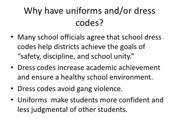 a good thesis statement for dress code