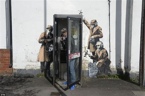 Banksy art work appears on side of Cheltenham house near to GCHQ   Daily Mail Online