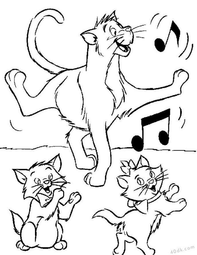 40dkcom Kedi Ailesi Boyama Sayfası 553 40dk Eğitim Bilim