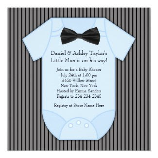 Pinstripe Black Blue Baby Boy Shower Announcement