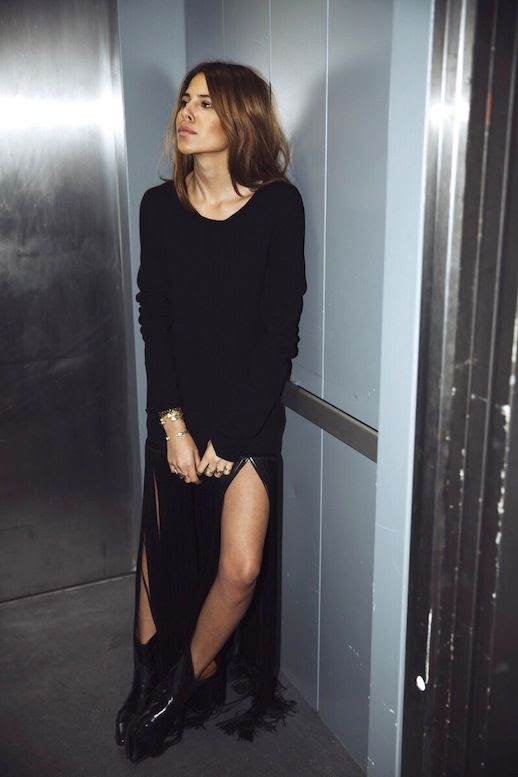Le Fashion Blogger Style Black Fringed Hem Celine Dress Gold Bracelets Western Inspired Leather Ankle Boots Via Maja Wyh