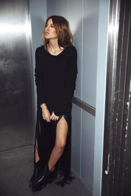 Le Fashion Blogger Style Black Fringed Hem Celine Dress Gold Bracelets Western Inspired Leather Ankle Boots Via Maja Wyh