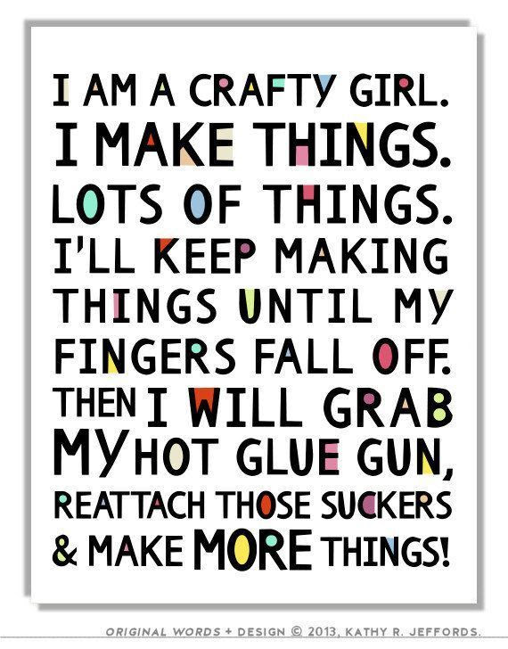 Crafty Girl Typographic Print. Craft Room Decor. Craft Room Sign. Funny Craft Studio Wall Art. Colorful Gift For Crafter. DIY Quote Poster. Daily update on my blog: