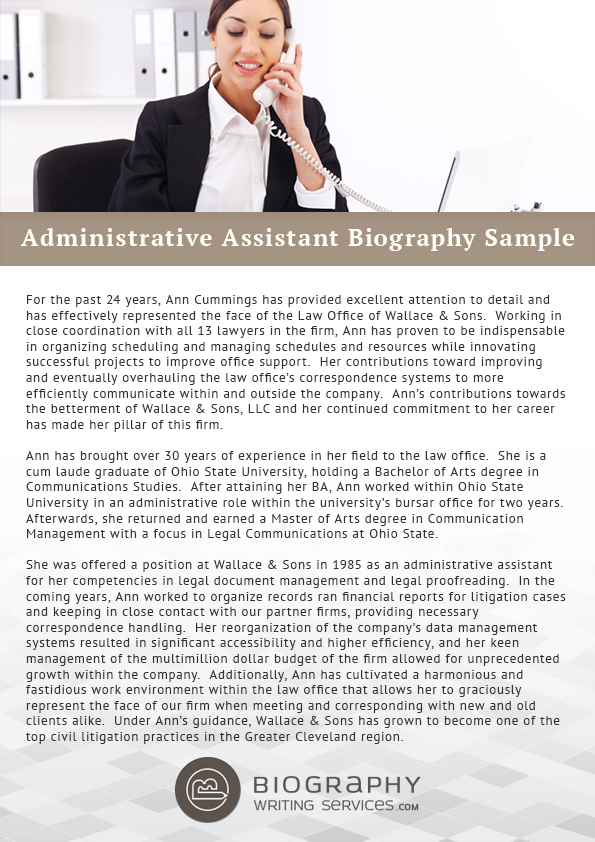 Administrative Assistant Biography Sample