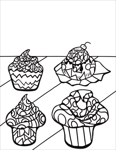zentangle cupcakes and muffins coloring page  free printable coloring pages