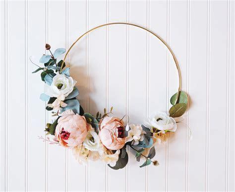 Gold Hoop Wreath, Floral Chic, Peony Boho Nursery Wreath