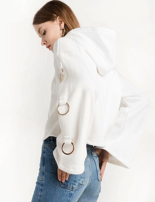 Le Fashion Blog Fall Style Hoop Earrings Pixie Market White Ring Hooded Sweatshirt Light Wash Denim