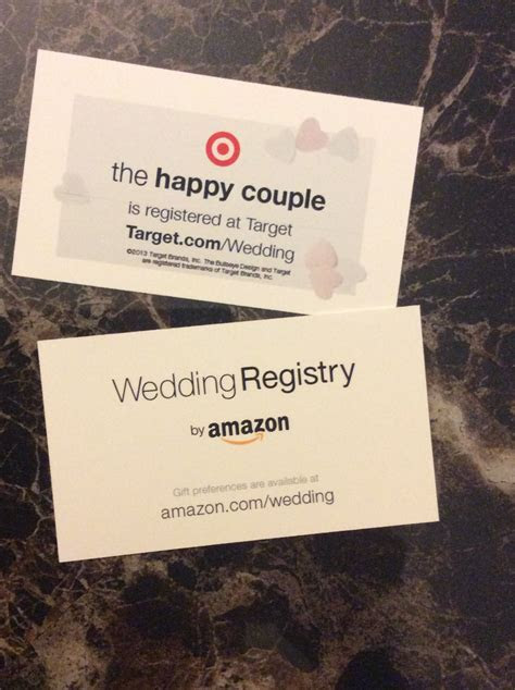 Wedding Registry!! Use business cards to let people know