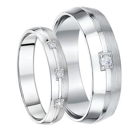 His & Hers 4&6mm 9ct White Gold Boxed Set Diamond Wedding