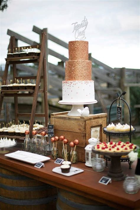 Kara's Party Ideas » Rustic Gold and Bronze 21st Birthday