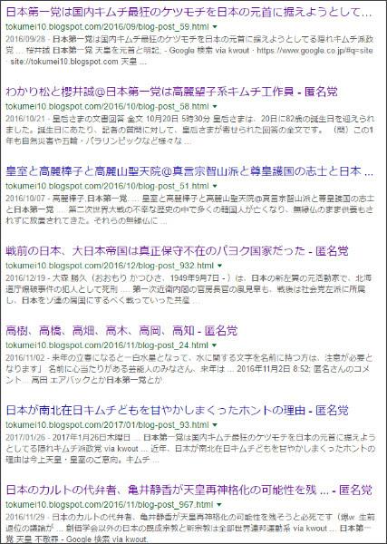 https://www.google.co.jp/#q=site:%2F%2Ftokumei10.blogspot.com+%E6%97%A5%E6%9C%AC%E7%AC%AC%E4%B8%80%E5%85%9A&*