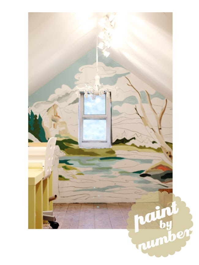 DIY paint by number wall mural