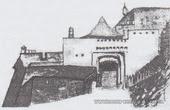 Малюнок воріт Хустського замку