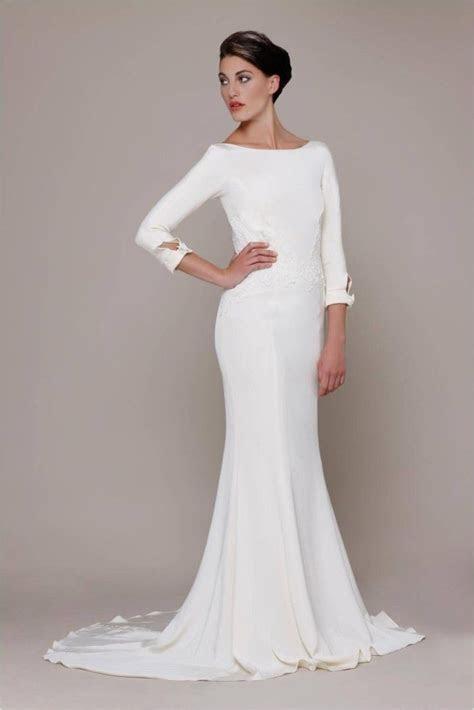 Modern Sleek   Wedding   Dress   Boat neck wedding dress