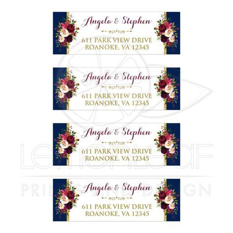 Watercolor Flowers Address Labels   Navy Blue, Burgundy, Gold