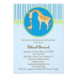 "Mom and Baby Giraffe Baby Boy Shower Invitation 5"" X 7"" Invitation Card"