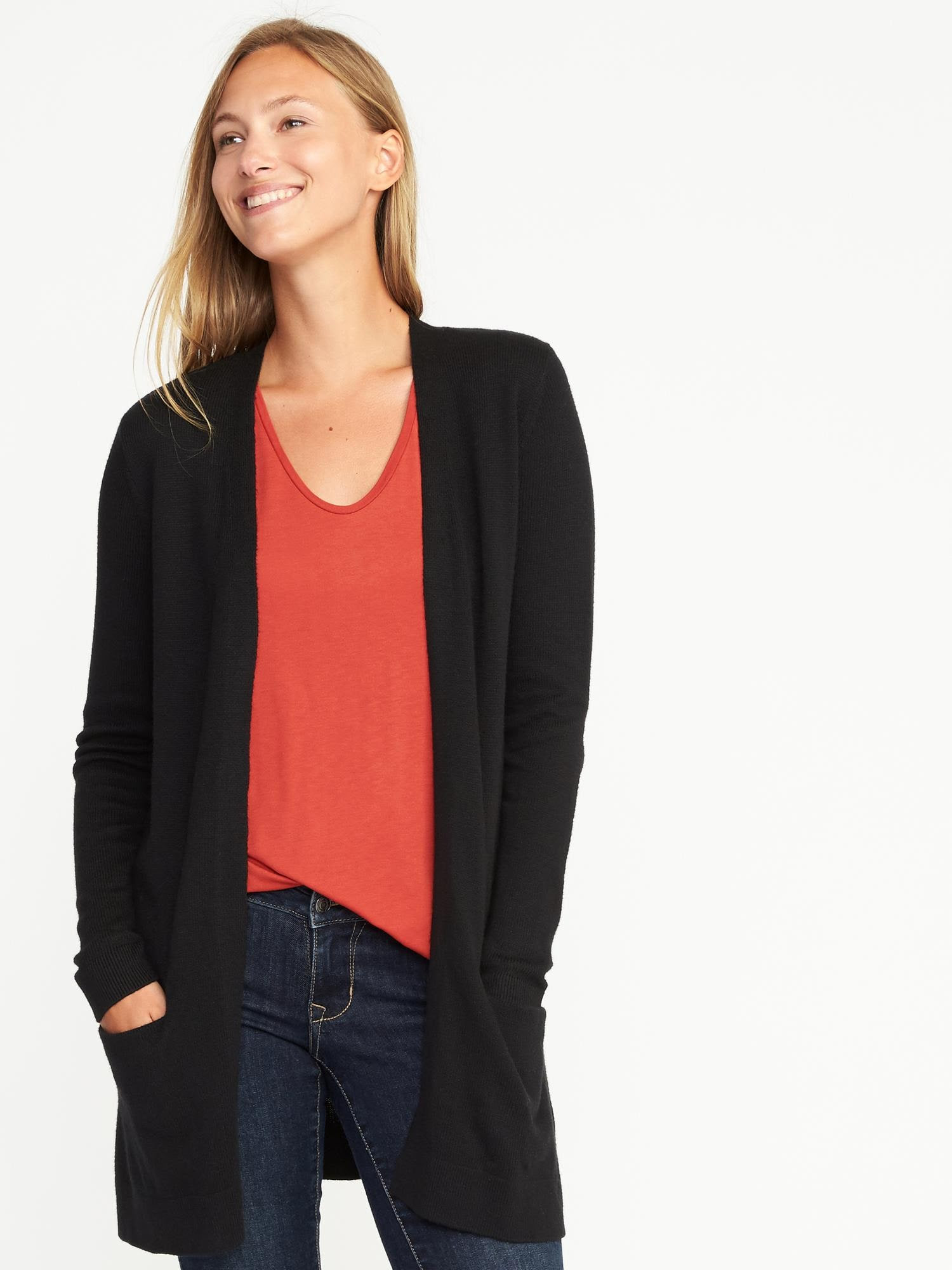 Sale for old sweaters navy women long cardigan