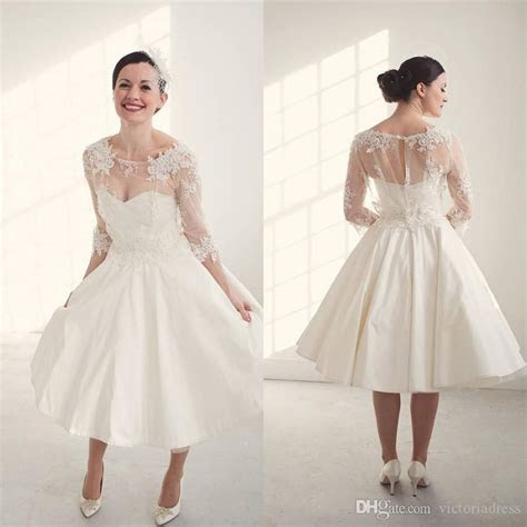 Discount Tea Length Three Quarter Sleeves Vintage Wedding