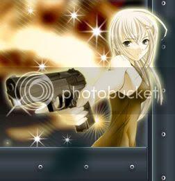 Manga girl with gun