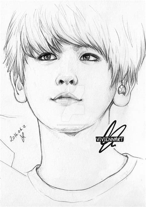 exo baekhyun pencil drawing   vivienn art  deviantart